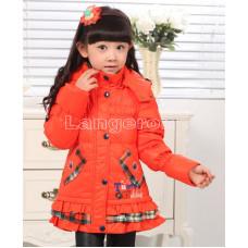 Пуховик для девочки оранжевый 134