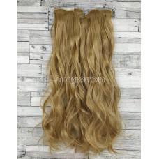 Волосы на заколках набор блонд темный №18 волнистые трессы из 6 тресс 16 клипс