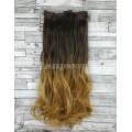 Волосы на заколках набор коричневые омбре в золотистый русый волнистые 8T27 трессы из 6 тресс 16 клипс