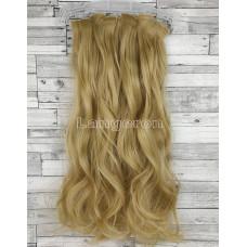 Волосы на заколках набор блонд №15 волнистые трессы из 6 тресс 16 клипс