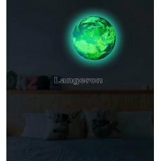 Наклейка светящаяся в темноте Европа  диаметр 30см
