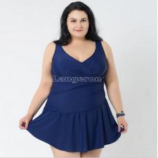 Купальник 56 р-р слитный в виде платья большой размер темно синий