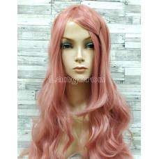 Парик волнистый 100см розовый с пробором имитация кожи