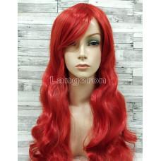 Парик красный волнистый 80см с косой челкой