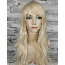 Парик блонд прямой 70см с косой челкой стрижка каскад искусственные волосы