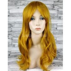 Парик желтый волнистый 60см с косой челкой стрижка каскад  искусственный  аниме косплей cosplay