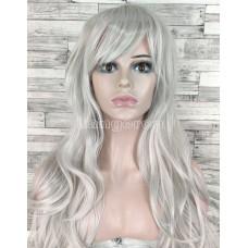 Парик серый прямой 70см искусственные волосы аниме косплей cosplay