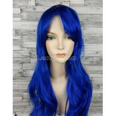 Парик синий ровный 70см стрижка каскад искусственные волосы аниме косплей cosplay