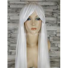 Парик белый карнавальный 100см косплей cosplay прямой ровный искусственные волосы аниме