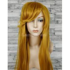 Парик желтый ровный 100см с косой челкой стрижка каре искусственный  аниме косплей cosplay