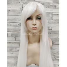 Парик белый длинный ровный искусственные волосы аниме карнавальный косплей cosplay прямой