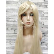 Парик блонд прямой 80см с косой челкой длинный