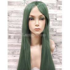Парик искусственные волосы прямой с косой челкой зеленый косплей cosplay