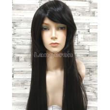 Парик черный длинный с косой челкой прямой ровный 80см