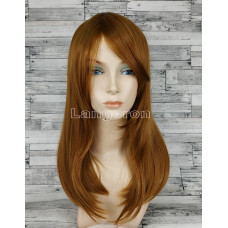 Парик коричневый прямой 50см с косой челкой искусственные волосы светло-коричневый русый ровный