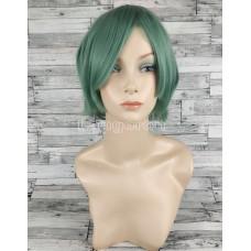 Парик зеленый ровный 20см с косой челкой искусственный аниме косплей cosplay