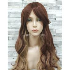 Парик волнистый двухцветный темно-коричневый с блондом