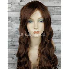 Парик искусственные волосы светло-коричневый волнистые с челкой