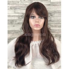 Парик искусственные волосы коричневый волнистые с челкой