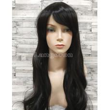 Парик искусственные волосы черный волнистый длинный