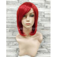 Парик красный ровный 33см с косой челкой стрижка каре искусственный аниме косплей cosplay