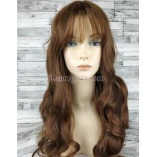 Парик коричневый волнистый 70см с пробором и челкой светло-коричневый искусственный волос