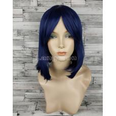 Парик синий ровный 33см с косой челкой стрижка каре темный искусственный аниме косплей cosplay