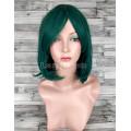 Парик зеленый каре 33см с косой челкой каре искусственный аниме косплей cosplay
