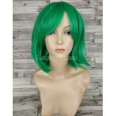 Парик зеленый каре 33см с косой челкой искусственный  аниме косплей cosplay