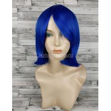 Парик синий ровный 33см с косой челкой каре  искусственный аниме косплей cosplay