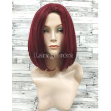 Парик бордовый ровный 33см с пробором стрижка каре бургунди имитация кожи искусственный аниме косплей cosplay