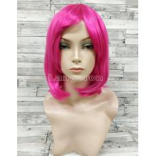 Парик малиновый каре 33см с косой челкой темно-розовый
