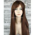Парик коричневый прямой 70см с косой челкой искусственные волосы светло-коричневый ровный