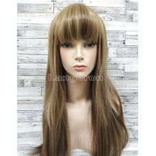 Парик искусственные волосы прямой ровный русый с челкой косплей cosplay