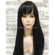 Парик искусственные волосы черный прямые с челкой
