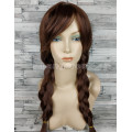 Парик Анны темно-коричневый с пробором и челкой 2 косы принцессы 70см