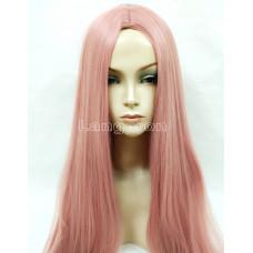 Парик искусственные волосы аниме розовый с пробором карнавальный 100см косплей cosplay прямой ровный