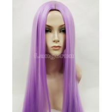Парик искусственные волосы аниме фиолетовый с пробором карнавальный 100см косплей cosplay прямой ров