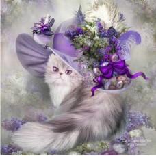 Картина для выкладывания  Кошка в шляпе 24*24 см Полное заполнение.Круглыми камнями