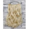 Волосы на заколках на одной ленте блонд  №613  волнистые трессы 5 клипс