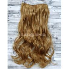 Волосы на заколках на одной ленте русый золотистый №24 волнистые трессы 5 клипс