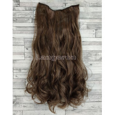 Трессы волнистые каштановые на ленте 60см волосы на клипсах №2/30 120г