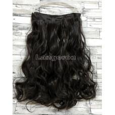 Трессы волнистые темно-коричневые на ленте 60см 120г волосы на клипсах №2 почти черный