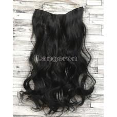 Трессы волнистые черные на ленте 55см 120г волосы на клипсах №1
