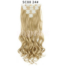 Трессы волнистые набор блонд темный холодный №24 16клипс 55см 7прядей 130г
