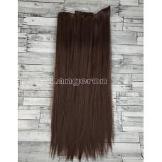Волосы на заколках набор коричневые с красным отливом №2/33 ровные трессы из 6 тресс 16 клипс