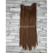 Волосы на заколках набор коричневые №2/30 светло-коричневые ровные  трессы из 6 тресс 16 клипс
