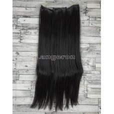 Волосы на заколках набор черные ровные трессы из 6 тресс 16 клипс