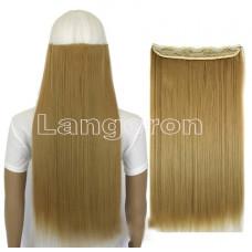 Трессы ровные блонд пшеничный на ленте 60см 120г прямые искусственные термостойкие волосы на клипсах 24/27