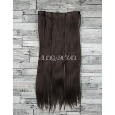 Трессы ровные светло-коричневые на ленте 60см 100г прямые искусственные термостойкие волосы на клипсах
